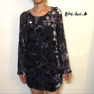 UO Velvet Winter Dress with Sheer Bell Sleeves